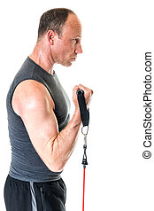 Bicep Curl - Bicep curl exercise with resistance band Studio...