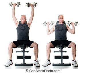 Shoulder Press - Shoulder press exercise. Studio shot over...