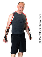 Man With Resistance Band - Adult man with a resistance band....