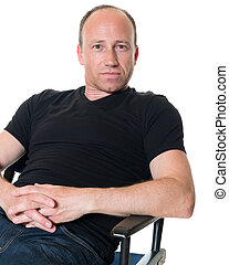 Casual Man - Casual adult man in black shirt. Studio shot...