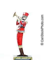 Toy Soldier Playing Trumpet Isolated White - A toy soldier...