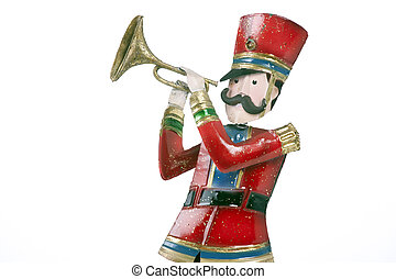 Toy Soldier Trumpet Player Isolated White - A toy soldier...