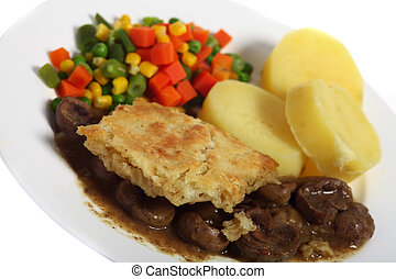 Kidney pie dinner angled - A lamb\'s kidney pie, with suet...