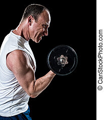 Bicep Curl - Bicep curl exercise with dumbbell Studio shot...