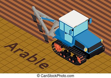 Agricultural crawler tractor with plow tillage a field. -...