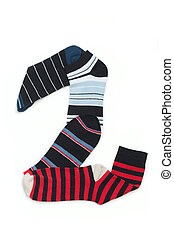 Number two made from different colours of socks Socks in...