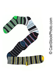 Number 2 made from all colours socks Huge number 2 organized...