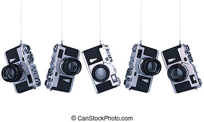 silver photo camera Vintage High resolution 3d