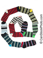 At symbol - Many colours of socks in lines designing at...