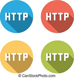 Collection of 4 isolated flat buttons for HTTP (Hypertext Transfer Protocol)