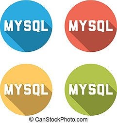 Collection of 4 isolated flat buttons for MYSQL (relational...