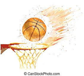 ball thrown in a basket - watercolor basketball ball thrown...