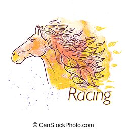 horse racing watercolor symbol
