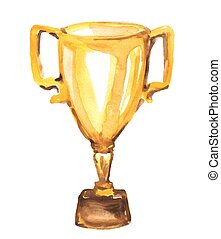 watercolor golden trophy on white