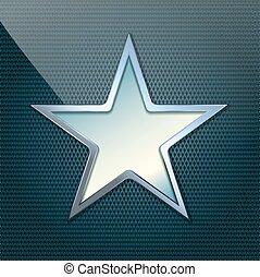 vector illustration of chrome star on grid background