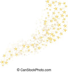 golden stars flowing over white background