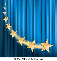golden stars flying over blue curtain background with spotlight