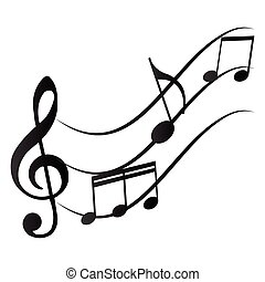 Musical notes - Group of musical notes on a white background...