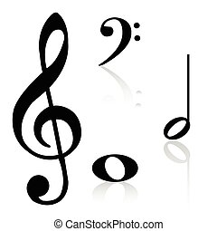 Musical notes - Group of musical notes on a white...