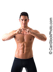 Shirtless muscular man making heart sing with hands