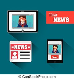 Journalism design - Journalism design over blue background,...