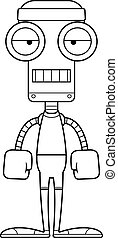 Cartoon Bored Fitness Robot - A cartoon fitness robot...