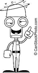 Cartoon Drunk Soldier Robot