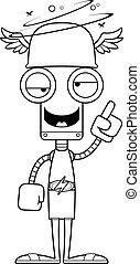 Cartoon Drunk Hermes Robot - A cartoon Hermes robot looking...