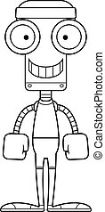 Cartoon Smiling Fitness Robot - A cartoon fitness robot...