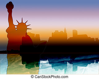 New york skyline silhouette - New York illustration with...