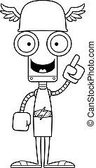 Cartoon Hermes Robot Idea - A cartoon Hermes robot with an...