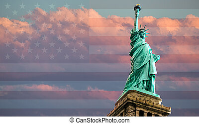 Statue of Liberty on American flag background against a...