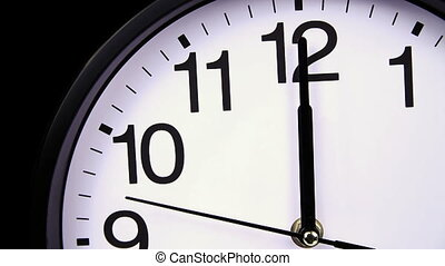 Wall clock on a black 00,00 close-up - Wall clock on a black...