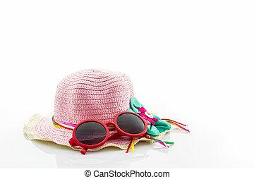 tejido, sombrero, con, rojo, gafas de sol, .,