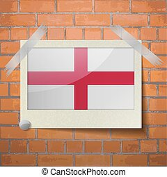 Flags England scotch taped to a red brick wall - Flags of...