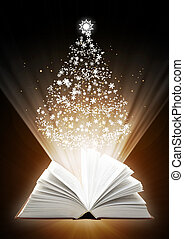 Christmas fairy-tale. Vertical background with magic book