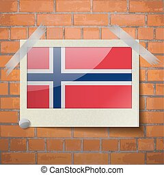 Flags Norway scotch taped to a red brick wall - Flags of...