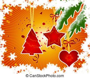 Christmas Decorations - Three christmas decorations hanging.