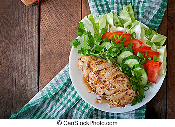 baked chicken breast with vegetable