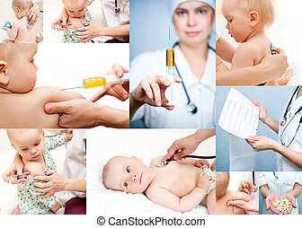 Pediatrics collection - Pediatrician examining little baby...