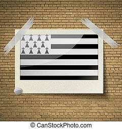 Flags Brittany at frame on a brick background. Vector -...