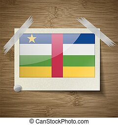 Flags Central African Republic at frame on wooden texture. Vector