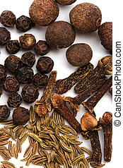 cloves, caraway and black pepper - macro image of spises:...