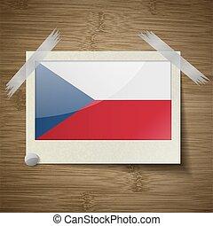 Flags Czech Republic at frame on wooden texture. Vector