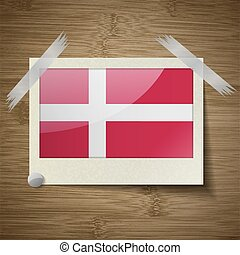 Flags Denmark at frame on wooden texture. Vector