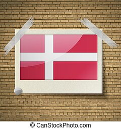 Flags Denmark at frame on a brick background. Vector