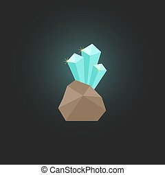 shining crystal with stone isolated on stylish background...