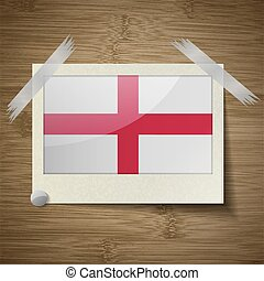 Flags England at frame on wooden texture Vector - Flags of...