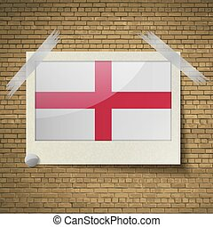 Flags England at frame on a brick background Vector - Flags...