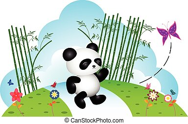 Panda chasing butterfly